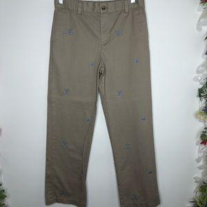 Vineyard Vines boys tan pants w/ hockey embroidery